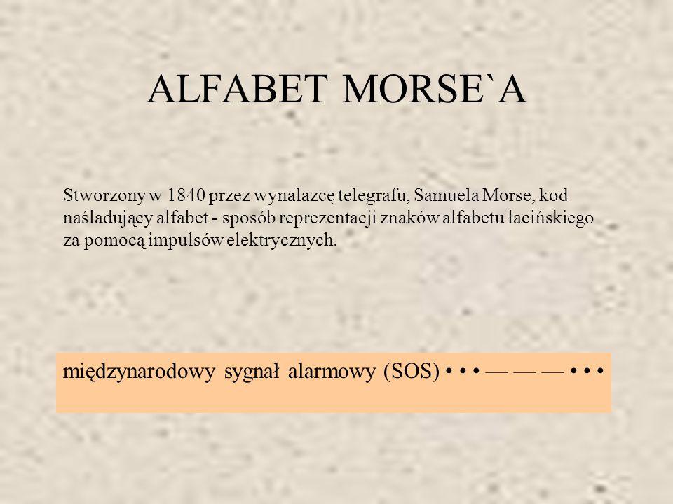 ALFABET MORSE`A Stworzony w 1840 przez wynalazcę telegrafu, Samuela Morse, kod naśladujący alfabet - sposób reprezentacji znaków alfabetu łacińskiego