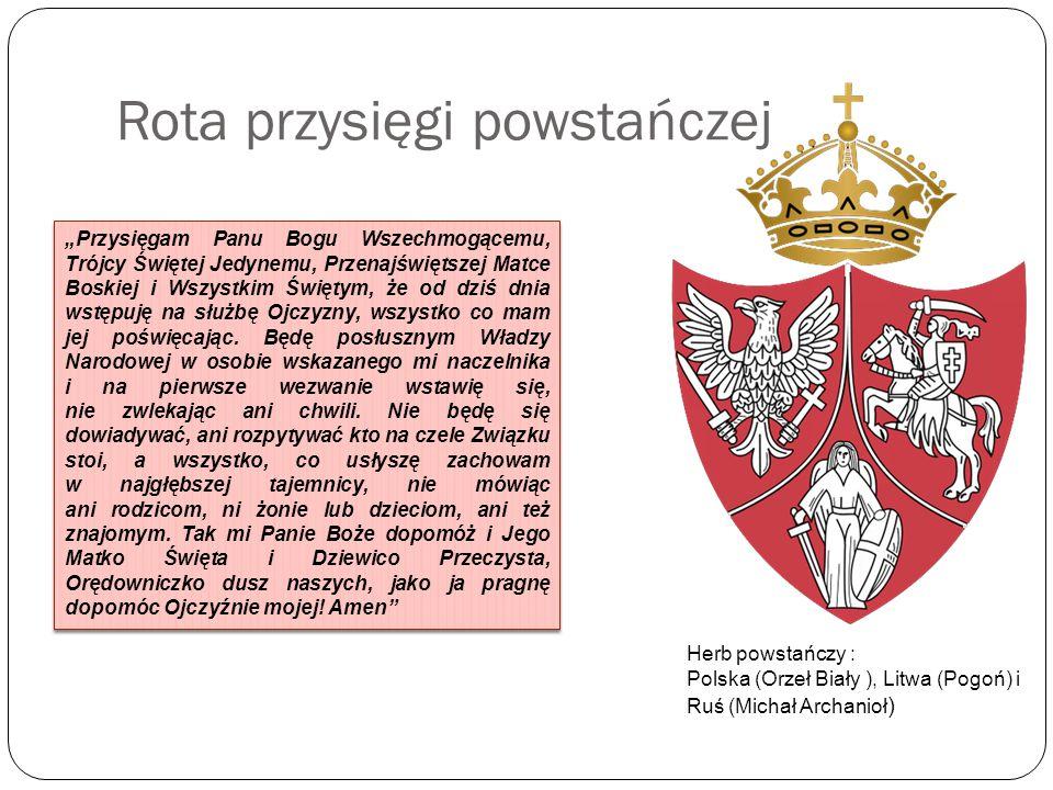 Przyczyny wybuchu powstania Pośrednie: śmierć namiestnika Królestwa Polskiego Iwana Paskiewicza – jego następcą został książę Michaił Gorczakow - Polacy zaczynają wierzyć w odzyskanie autonomii i przywrócenie konstytucji reformy cara przeprowadzane w Królestwie (ogłoszenie amnestii, złagodzenie cenzury, otworzenie polskich szkół) założenie Towarzystwa Rolniczego pełniącego rolę nielegalnego parlamentu, a następnie zamieszki z powodu jego rozwiązania porażka Rosji w wojnie krymskiej; sukcesy Włochów co spowodowało wzrost nastrojów patriotycznych wśród Polaków młode pokolenie Polaków wychowane w duchu romantyzmu manifestacje polityczne idea mesjanizmu zaostrzenie represji, aresztowania polskich patriotów nielegalne organizacje niepodległościowe - Biali (bogate mieszczaństwo i inteligencja, propagowali zjednoczenie całego społeczeństwa i dążyli do rozszerzenia Królestwa) i Czerwoni (szlachta, mieszczaństwo, chłopi chcieli zbrojnego powstania bez odszkodowań, chcieli dokonać reform w wolnej już Polsce) powołanie Komitetu Miejskiego, później Komitetu Centralnego Narodowego Michaił Gorczakow na obrazie Jana Ksawerego Kaniewskiego