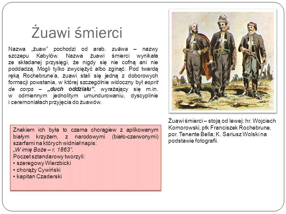 Żuawi śmierci – stoją od lewej: hr. Wojciech Komorowski, płk Franciszek Rochebrune, por. Tenente Bella; K. Sariusz Wolski na podstawie fotografii. Naz