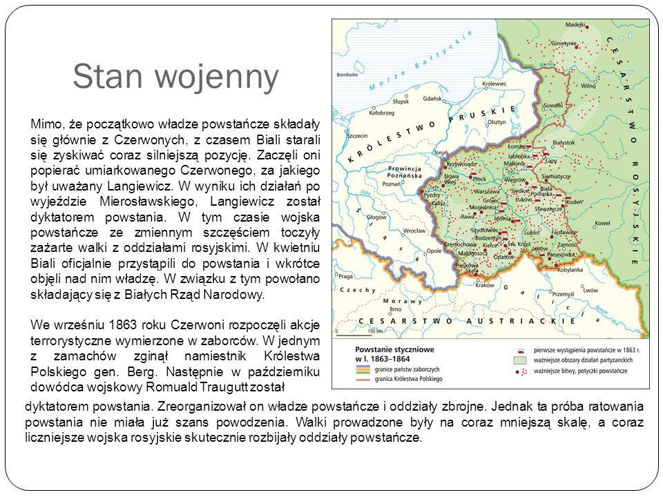 Stan wojenny Mimo, że początkowo władze powstańcze składały się głównie z Czerwonych, z czasem Biali starali się zyskiwać coraz silniejszą pozycję. Za