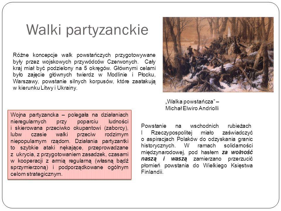 Walki partyzanckie Różne koncepcje walk powstańczych przygotowywane były przez wojskowych przywódców Czerwonych. Cały kraj miał być podzielony na 5 ok