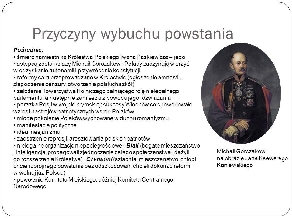 Przyczyny wybuchu powstania Pośrednie: śmierć namiestnika Królestwa Polskiego Iwana Paskiewicza – jego następcą został książę Michaił Gorczakow - Pola