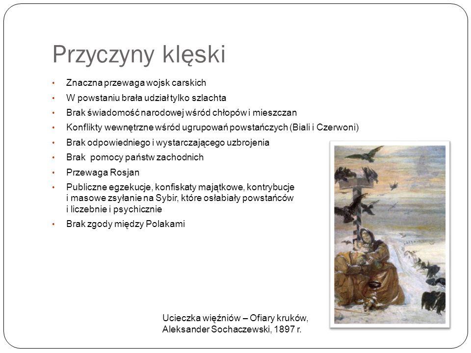 Przyczyny klęski Znaczna przewaga wojsk carskich W powstaniu brała udział tylko szlachta Brak świadomość narodowej wśród chłopów i mieszczan Konflikty