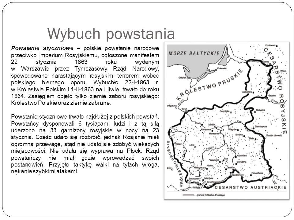 Najważniejsze bitwy Bitwa pod Ciołkowem (22 stycznia 1863) – pierwsza bitwa w powstaniu; oddział jadący z Warszawy do Płocka napotkał kompanię rosyjskiego pułku; wygrano poprzez zasadzkę w lesie; zdobyto broń Bitwa pod Szydłowcem (22/23 stycznia 1863) – pierwsze wyzwolone miasto Bitwa siemiatycka (6-7 lutego 1863) – klęska z powodu słabego uzbrojenia i niedostatecznej współpracy między dowódcami Bitwa w Sosnowcu (6-7 lutego 1863) – zdobyto jeńców, 40 koni oraz 100 tys.