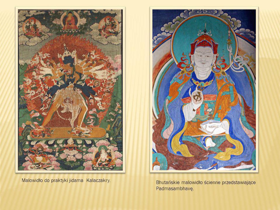 Malowidło do praktyki jidama Kalaczakry. Bhutańskie malowidło ścienne przedstawiające Padmasambhavę.