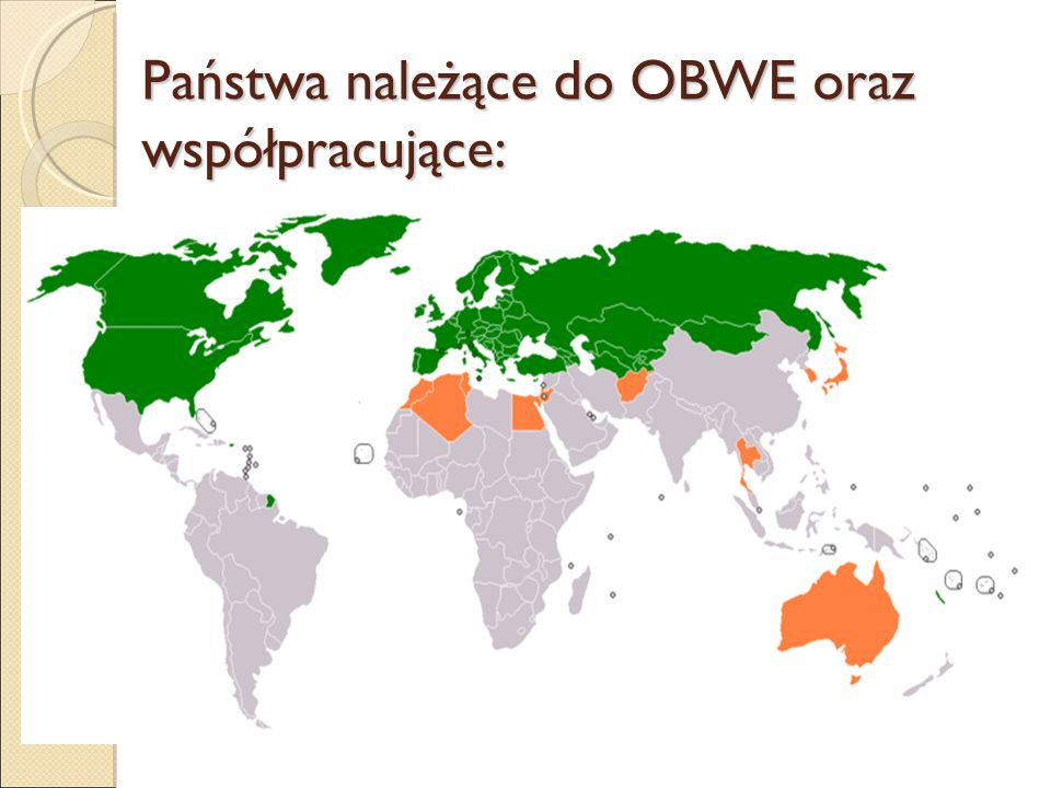 Obecnie OBWE prowadzi 16 misji terenowych: - 6 na Bałkanach (Albania, Bośnia i Hercegowina, Czarnogóra, Kosowo, Macedonia, Serbia); - 3 na Zakaukaziu (Armenia, Azerbejdżan, Górny Karabach); - 5 w Azji Środkowej (Kazachstan, Kirgistan, Tadżykistan, Turkmenistan, Uzbekistan); - 2 w Europie Wschodniej (Mołdawia, Ukraina); w misjach terenowych OBWE pracuje 10 Polaków