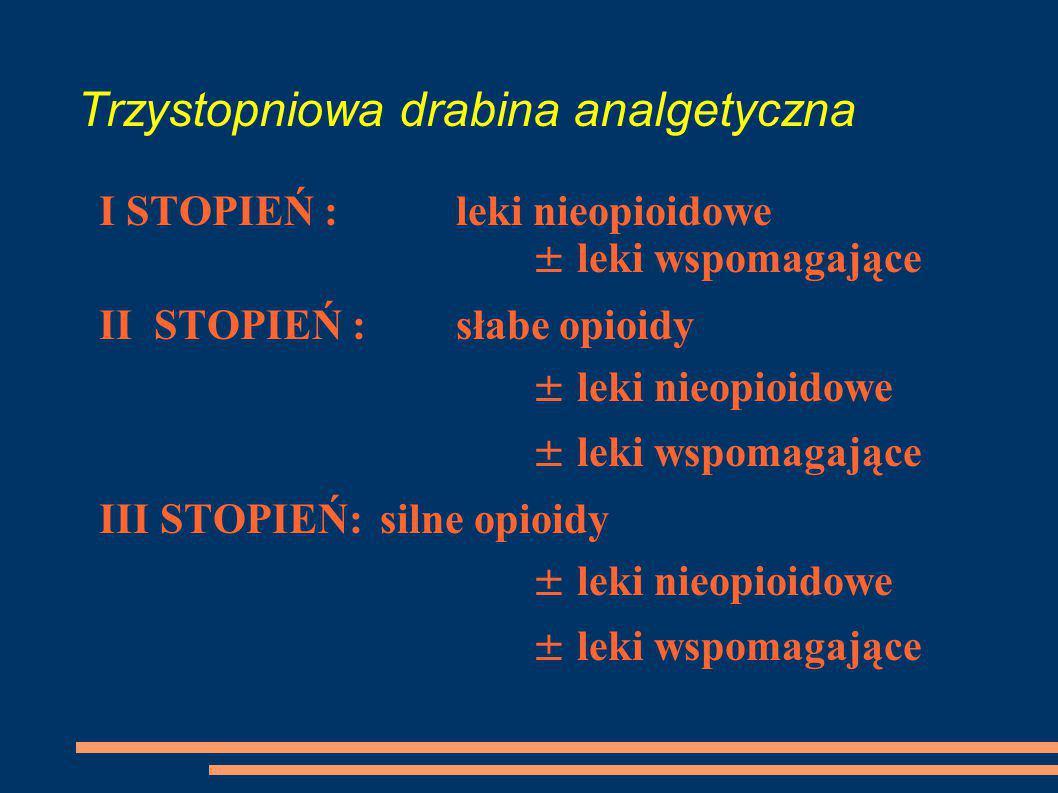 Trzystopniowa drabina analgetyczna I STOPIEŃ : leki nieopioidowe ± leki wspomagające II STOPIEŃ : słabe opioidy ± leki nieopioidowe ± leki wspomagając