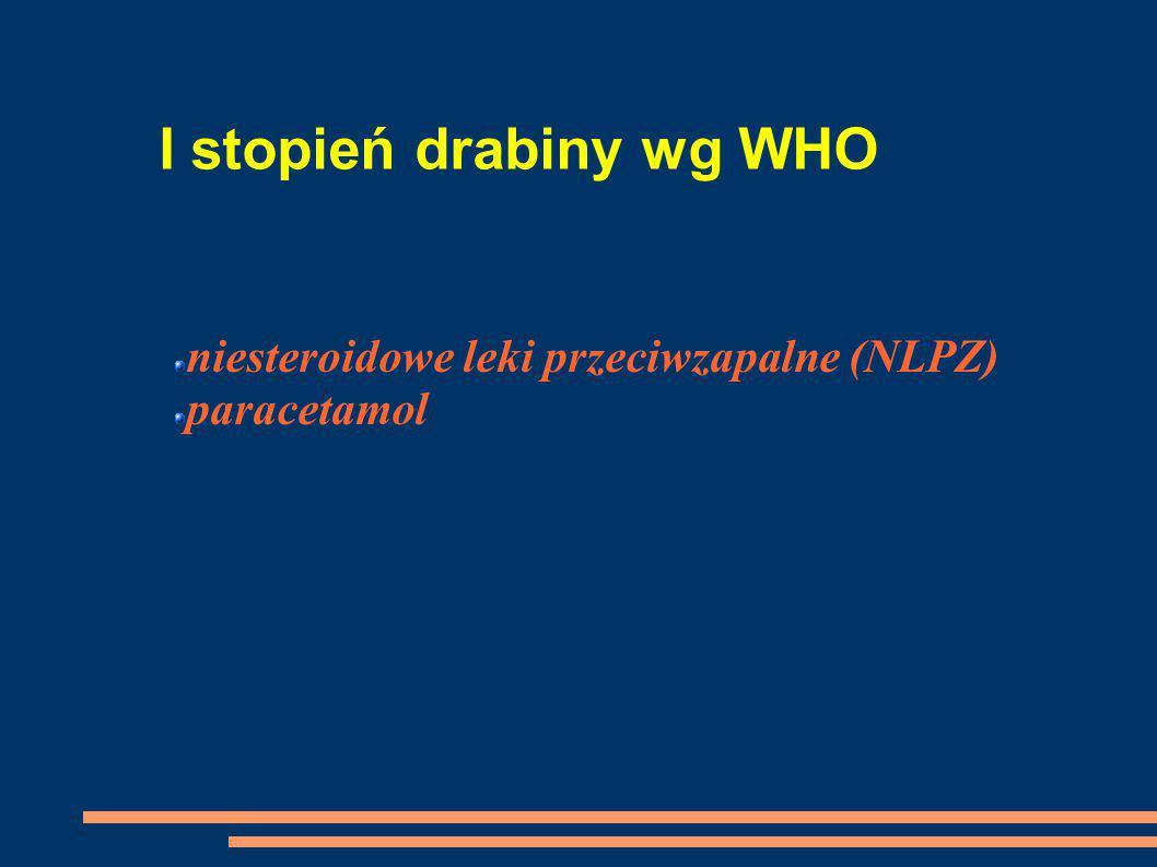 I stopień drabiny wg WHO niesteroidowe leki przeciwzapalne (NLPZ) paracetamol