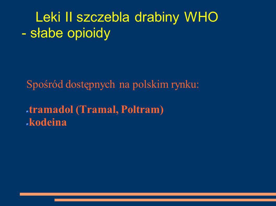 Leki II szczebla drabiny WHO - słabe opioidy Spośród dostępnych na polskim rynku: tramadol (Tramal, Poltram) kodeina