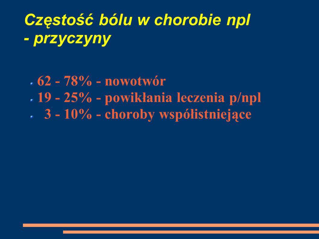 Częstość bólu w chorobie npl - przyczyny 62 - 78% - nowotwór 19 - 25% - powikłania leczenia p/npl 3 - 10% - choroby współistniejące