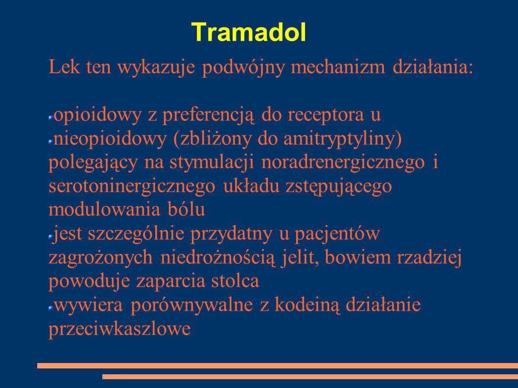 Tramadol Lek ten wykazuje podwójny mechanizm działania: opioidowy z preferencją do receptora u nieopioidowy (zbliżony do amitryptyliny) polegający na