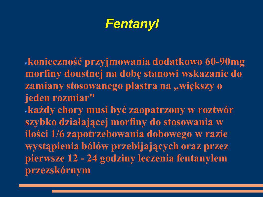 """Fentanyl konieczność przyjmowania dodatkowo 60-90mg morfiny doustnej na dobę stanowi wskazanie do zamiany stosowanego plastra na """"większy o jeden rozm"""