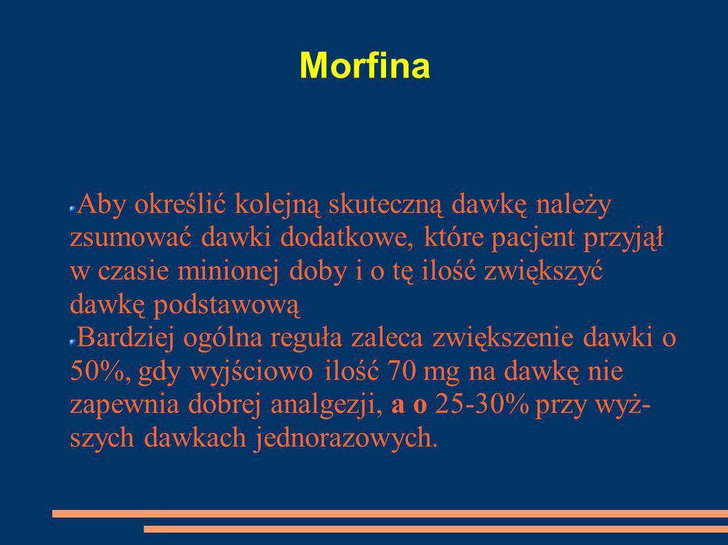 Morfina Aby określić kolejną skuteczną dawkę należy zsumować dawki dodatkowe, które pacjent przyjął w czasie minionej doby i o tę ilość zwiększyć dawk