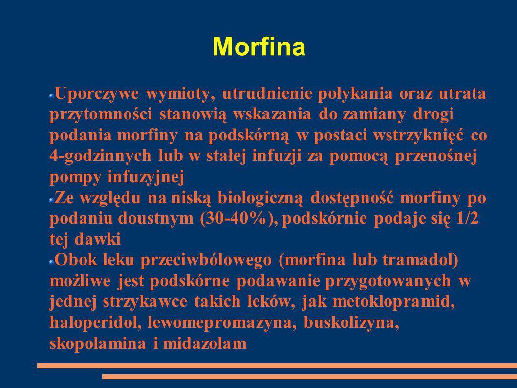Morfina Uporczywe wymioty, utrudnienie połykania oraz utrata przytomności stanowią wskazania do zamiany drogi podania morfiny na podskórną w postaci w