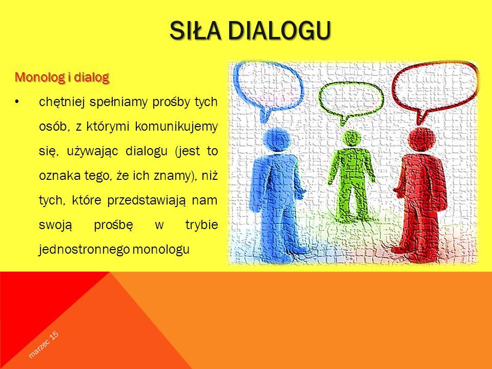 SIŁA DIALOGU Monolog i dialog chętniej spełniamy prośby tych osób, z którymi komunikujemy się, używając dialogu (jest to oznaka tego, że ich znamy), niż tych, które przedstawiają nam swoją prośbę w trybie jednostronnego monologu marzec 15