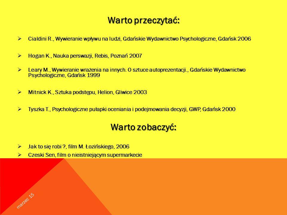 Warto przeczytać:  Cialdini R., Wywieranie wpływu na ludzi, Gdańskie Wydawnictwo Psychologiczne, Gdańsk 2006  Hogan K., Nauka perswazji, Rebis, Poznań 2007  Leary M., Wywieranie wrażenia na innych.