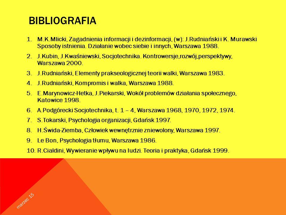 BIBLIOGRAFIA 1.M.K.Mlicki, Zagadnienia informacji i dezinformacji, (w): J.Rudniański i K.