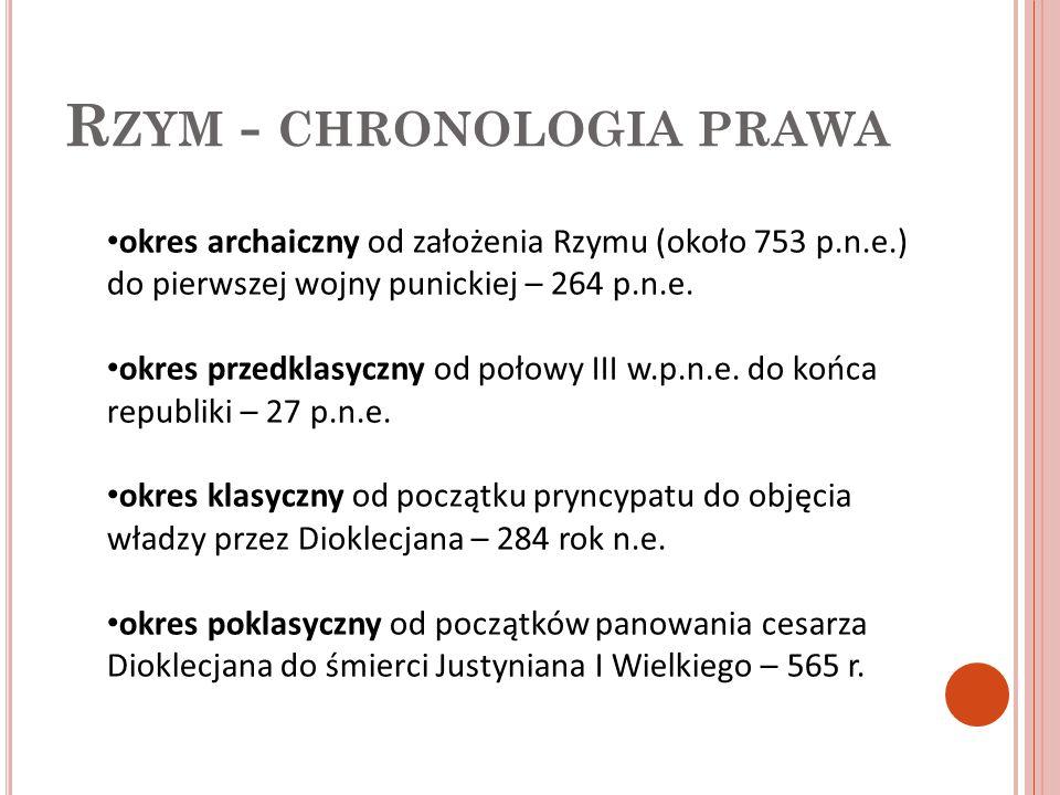 P RAWO RZYMSKIE (A RCHAICZNE ): Ustawa XII tablic – V w p.n.e.- sukces mieszkańców Rzymu którzy toczyli walkę z członkami uprzywilejowanych 300 rodów rzymskich.