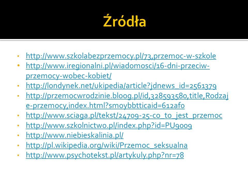 http://www.szkolabezprzemocy.pl/73,przemoc-w-szkole http://www.iregionalni.pl/wiadomosci/16-dni-przeciw- przemocy-wobec-kobiet/ http://www.iregionalni