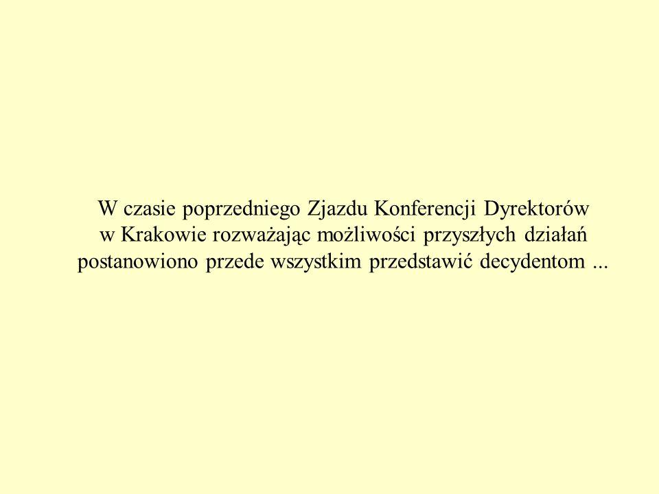 W czasie poprzedniego Zjazdu Konferencji Dyrektorów w Krakowie rozważając możliwości przyszłych działań postanowiono przede wszystkim przedstawić decydentom...