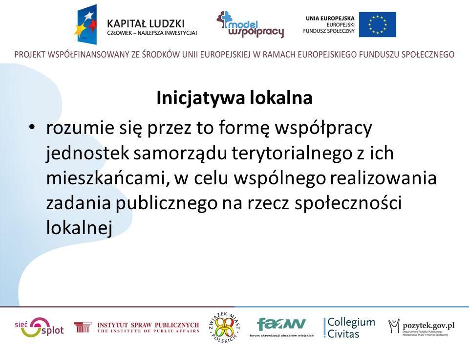 Inicjatywa lokalna rozumie się przez to formę współpracy jednostek samorządu terytorialnego z ich mieszkańcami, w celu wspólnego realizowania zadania publicznego na rzecz społeczności lokalnej