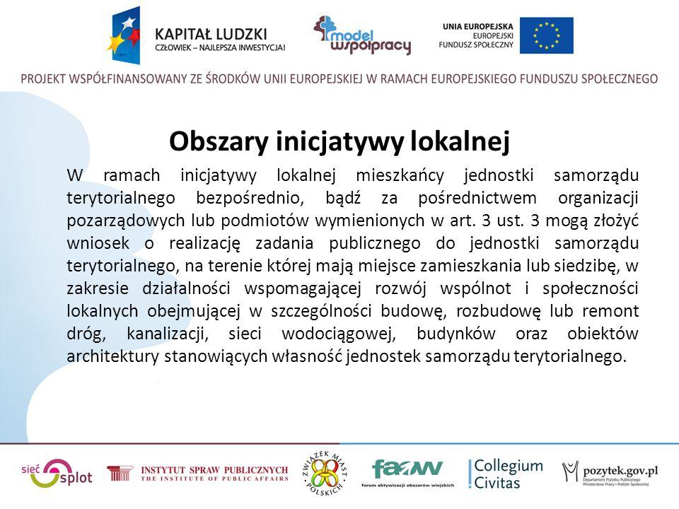 Obszary inicjatywy lokalnej W ramach inicjatywy lokalnej mieszkańcy jednostki samorządu terytorialnego bezpośrednio, bądź za pośrednictwem organizacji pozarządowych lub podmiotów wymienionych w art.