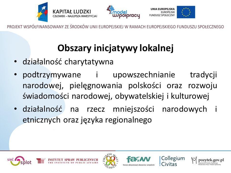 Obszary inicjatywy lokalnej działalność charytatywna podtrzymywane i upowszechnianie tradycji narodowej, pielęgnowania polskości oraz rozwoju świadomości narodowej, obywatelskiej i kulturowej działalność na rzecz mniejszości narodowych i etnicznych oraz języka regionalnego