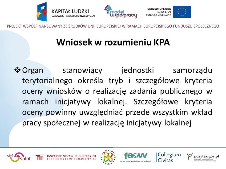 Wniosek w rozumieniu KPA  Organ stanowiący jednostki samorządu terytorialnego określa tryb i szczegółowe kryteria oceny wniosków o realizację zadania publicznego w ramach inicjatywy lokalnej.