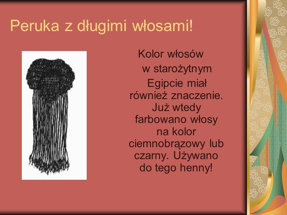 Peruka z długimi włosami! Kolor włosów w starożytnym Egipcie miał również znaczenie. Już wtedy farbowano włosy na kolor ciemnobrązowy lub czarny. Używ