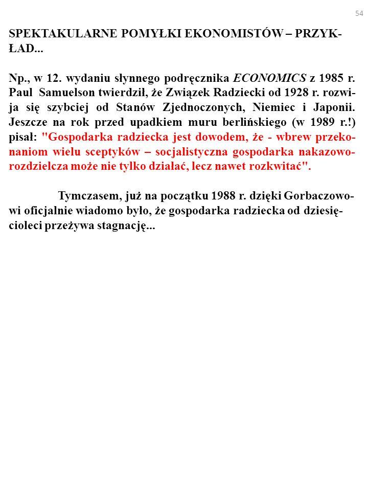 54 SPEKTAKULARNE POMYŁKI EKONOMISTÓW – PRZYK- ŁAD...
