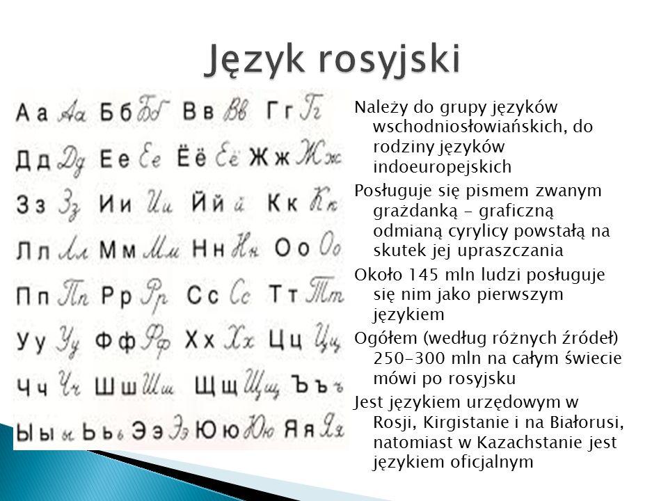 Należy do grupy języków wschodniosłowiańskich, do rodziny języków indoeuropejskich Posługuje się pismem zwanym grażdanką - graficzną odmianą cyrylicy powstałą na skutek jej upraszczania Około 145 mln ludzi posługuje się nim jako pierwszym językiem Ogółem (według różnych źródeł) 250-300 mln na całym świecie mówi po rosyjsku Jest językiem urzędowym w Rosji, Kirgistanie i na Białorusi, natomiast w Kazachstanie jest językiem oficjalnym