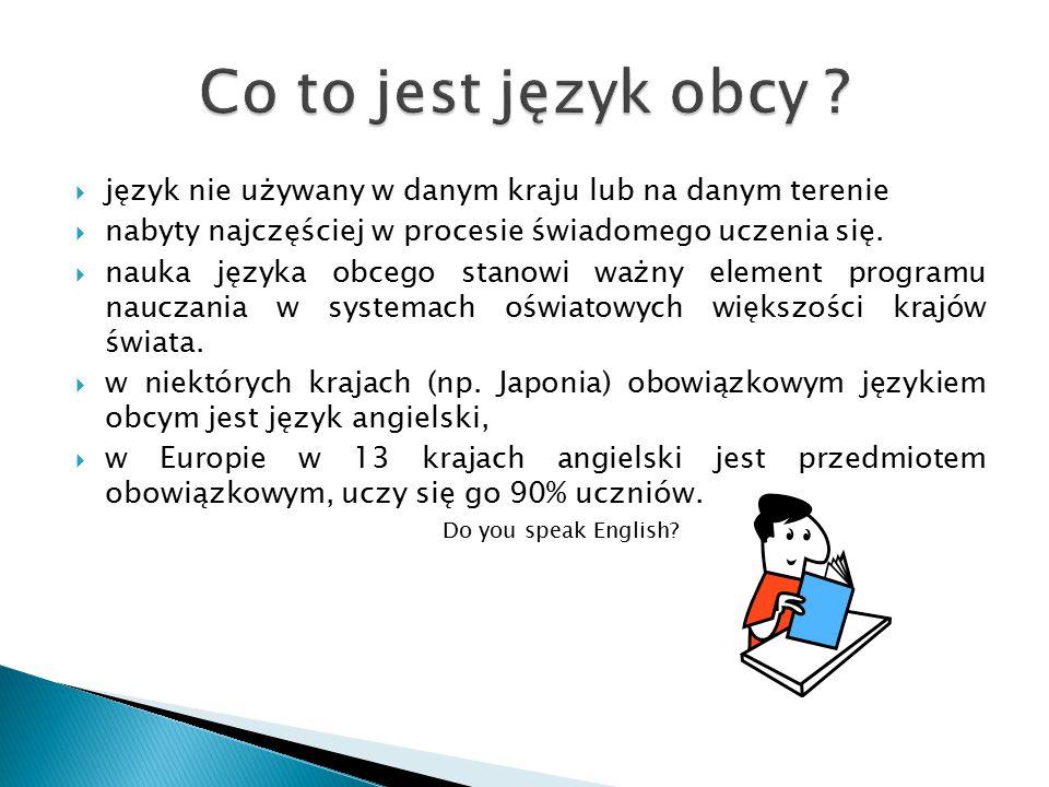  język nie używany w danym kraju lub na danym terenie  nabyty najczęściej w procesie świadomego uczenia się.  nauka języka obcego stanowi ważny ele