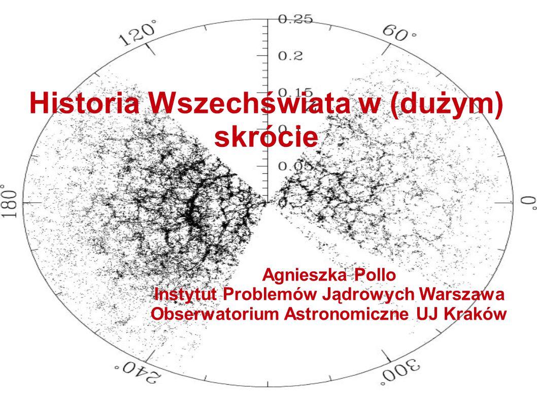 Wczesna historia Wszechświata przypuszczalnie z końcem epoki GUT  nastąpiło łamanie symetrii (pojawiła się niewielka nadwyżka materii nad antymaterią – na 10^9 antykwarków przypadnie 10^9+1 antykwark)  epoka inflacji – błyskawiczne rozszerzanie się przestrzeni (do t~10^{-32} s) Copyright: Planck web page/George Efstathiou