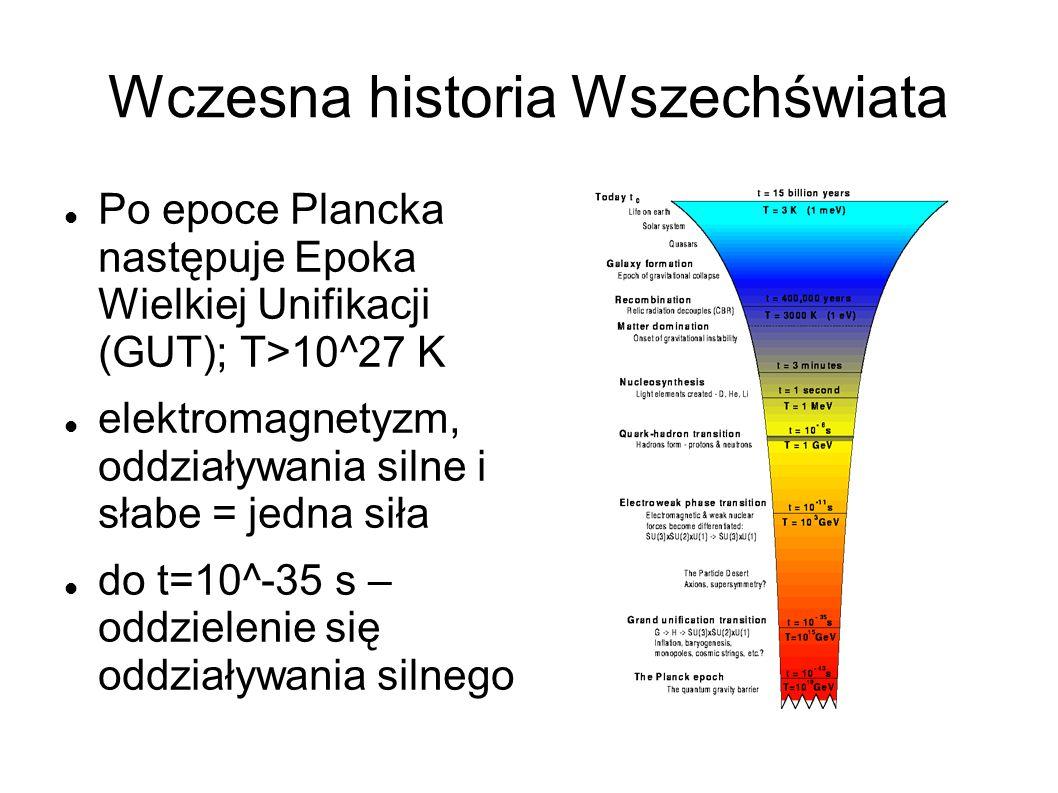 Wczesna historia Wszechświata Po epoce Plancka następuje Epoka Wielkiej Unifikacji (GUT); T>10^27 K elektromagnetyzm, oddziaływania silne i słabe = jedna siła do t=10^-35 s – oddzielenie się oddziaływania silnego