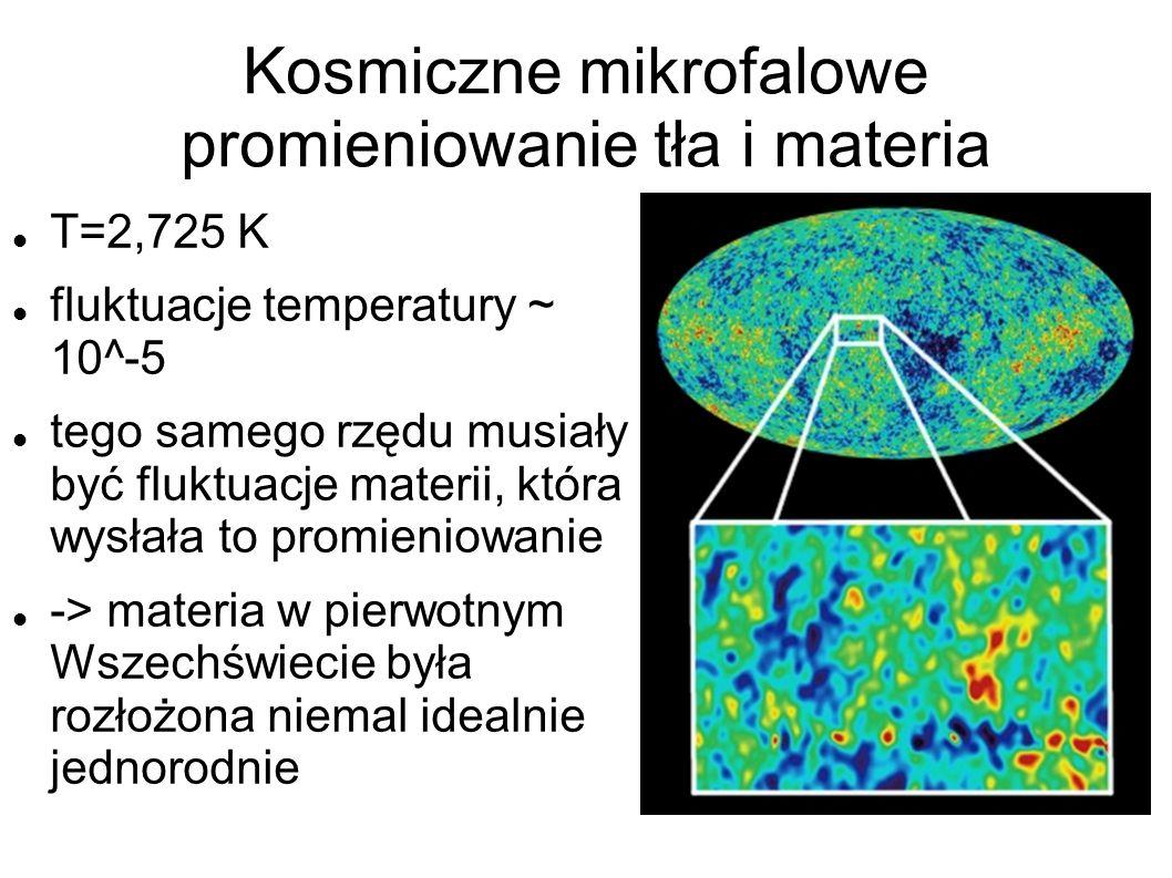 Kosmiczne mikrofalowe promieniowanie tła i materia T=2,725 K fluktuacje temperatury ~ 10^-5 tego samego rzędu musiały być fluktuacje materii, która wysłała to promieniowanie -> materia w pierwotnym Wszechświecie była rozłożona niemal idealnie jednorodnie