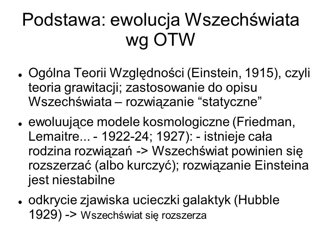 Podstawa: ewolucja Wszechświata wg OTW Ogólna Teorii Względności (Einstein, 1915), czyli teoria grawitacji; zastosowanie do opisu Wszechświata – rozwiązanie statyczne ewoluujące modele kosmologiczne (Friedman, Lemaitre...