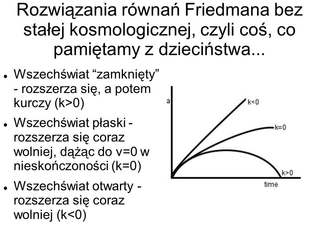 Rozwiązania równań Friedmana bez stałej kosmologicznej, czyli coś, co pamiętamy z dzieciństwa...