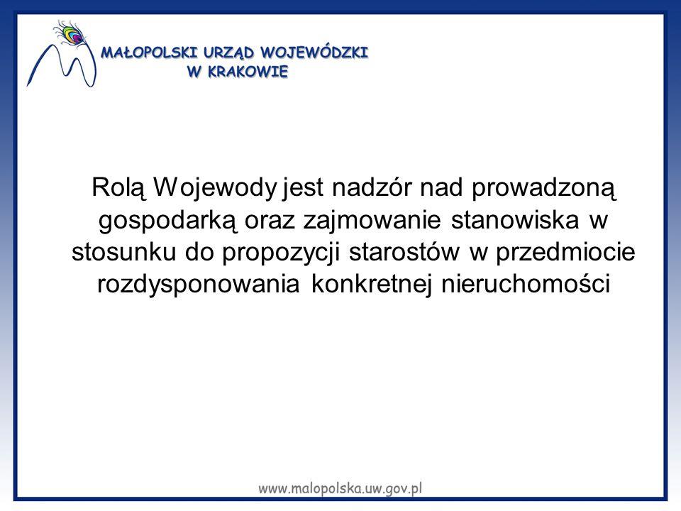 Rolą Wojewody jest nadzór nad prowadzoną gospodarką oraz zajmowanie stanowiska w stosunku do propozycji starostów w przedmiocie rozdysponowania konkre