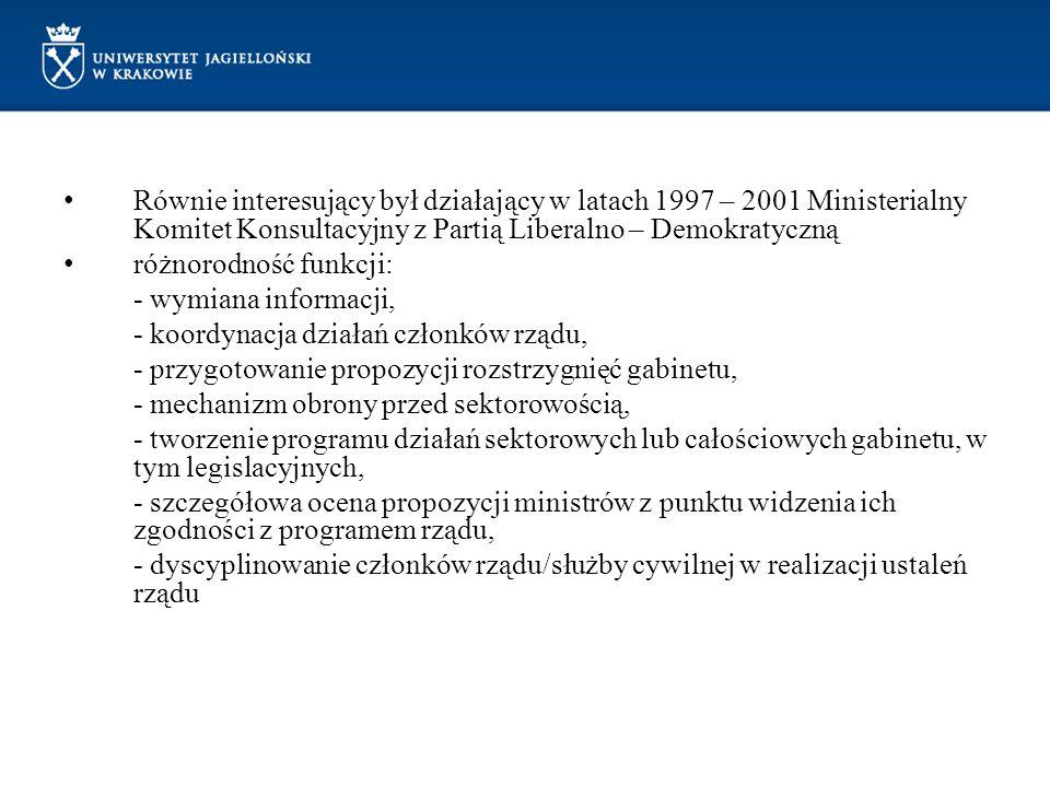 Równie interesujący był działający w latach 1997 – 2001 Ministerialny Komitet Konsultacyjny z Partią Liberalno – Demokratyczną różnorodność funkcji: -