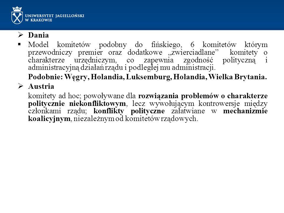 """ Dania  Model komitetów podobny do fińskiego, 6 komitetów którym przewodniczy premier oraz dodatkowe """"zwierciadlane"""" komitety o charakterze urzędnic"""