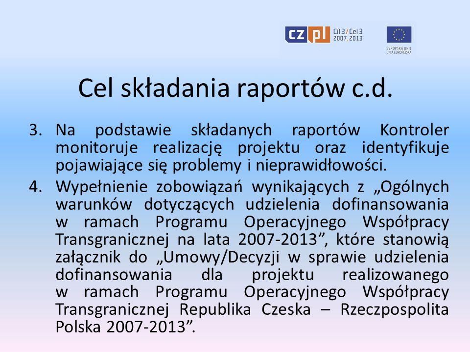 Cel składania raportów c.d. 3.Na podstawie składanych raportów Kontroler monitoruje realizację projektu oraz identyfikuje pojawiające się problemy i n