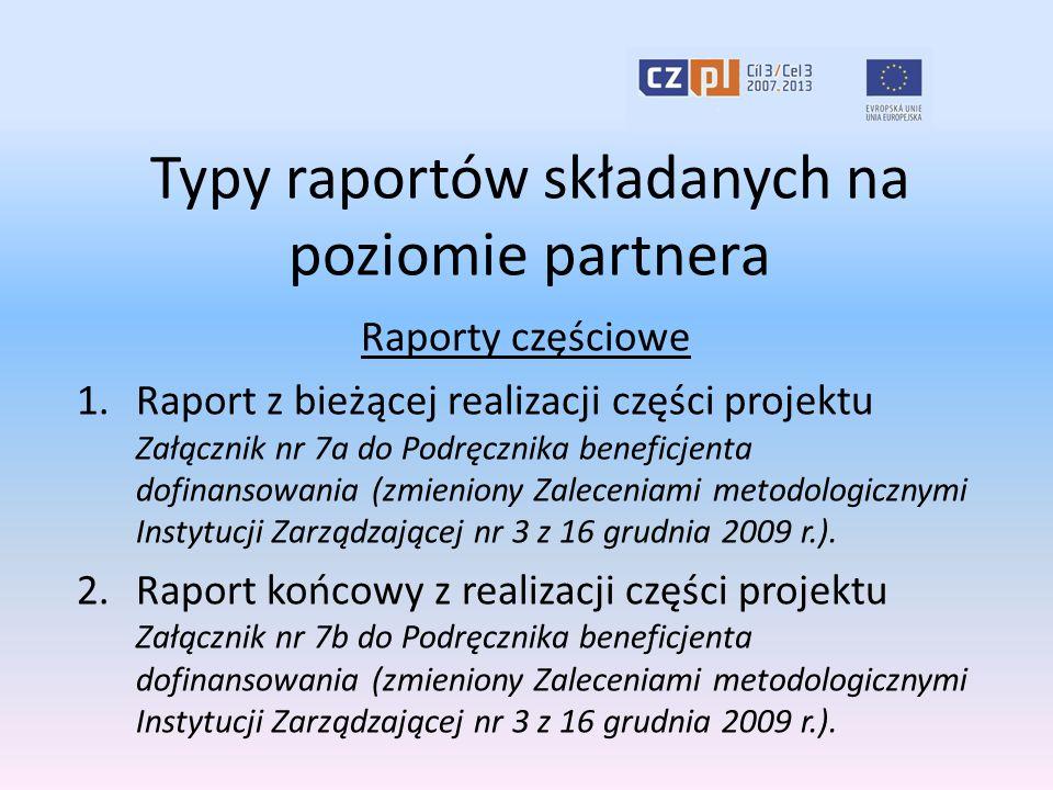 Typy raportów składanych na poziomie partnera Raporty częściowe 1.Raport z bieżącej realizacji części projektu Załącznik nr 7a do Podręcznika beneficj