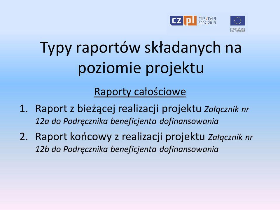 Typy raportów składanych na poziomie projektu Raporty całościowe 1.Raport z bieżącej realizacji projektu Załącznik nr 12a do Podręcznika beneficjenta dofinansowania 2.Raport końcowy z realizacji projektu Załącznik nr 12b do Podręcznika beneficjenta dofinansowania