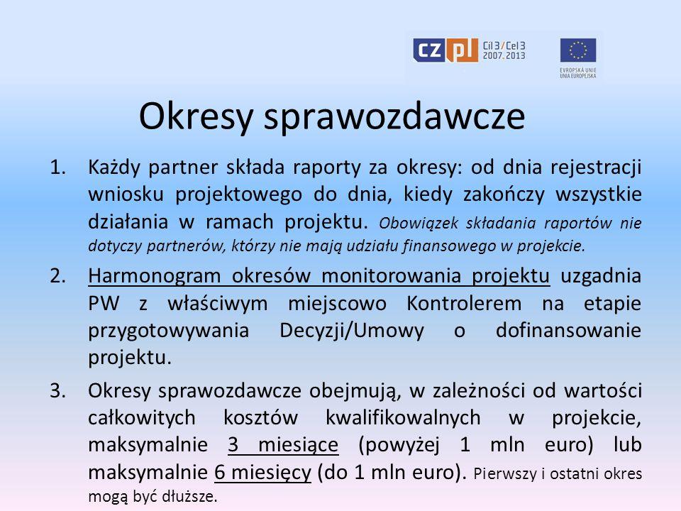 Okresy sprawozdawcze 1.Każdy partner składa raporty za okresy: od dnia rejestracji wniosku projektowego do dnia, kiedy zakończy wszystkie działania w