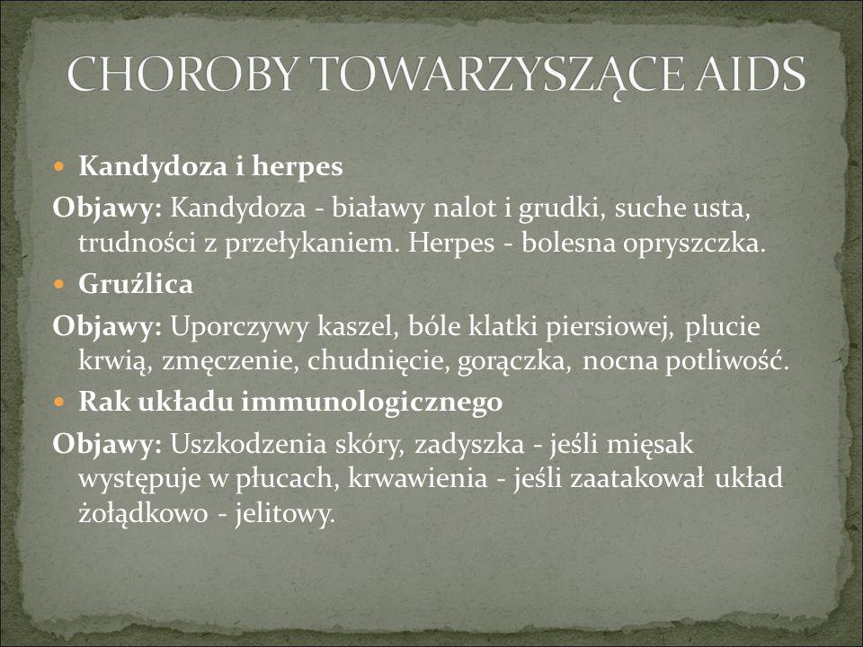Kandydoza i herpes Objawy: Kandydoza - białawy nalot i grudki, suche usta, trudności z przełykaniem.