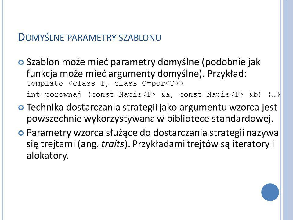 D OMYŚLNE PARAMETRY SZABLONU Szablon może mieć parametry domyślne (podobnie jak funkcja może mieć argumenty domyślne).