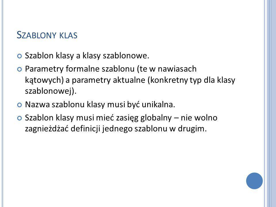 S ZABLONY KLAS Szablon klasy a klasy szablonowe.
