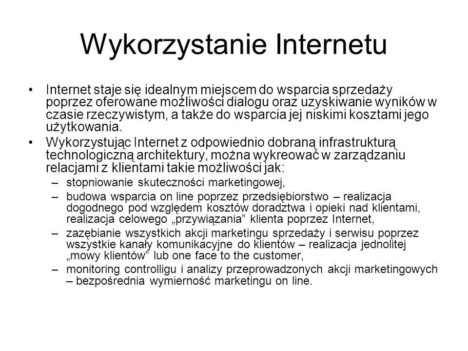 Wykorzystanie Internetu Internet staje się idealnym miejscem do wsparcia sprzedaży poprzez oferowane możliwości dialogu oraz uzyskiwanie wyników w czasie rzeczywistym, a także do wsparcia jej niskimi kosztami jego użytkowania.