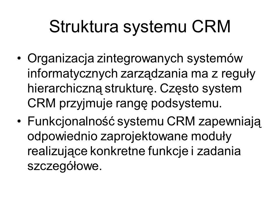 Struktura systemu CRM Organizacja zintegrowanych systemów informatycznych zarządzania ma z reguły hierarchiczną strukturę. Często system CRM przyjmuje