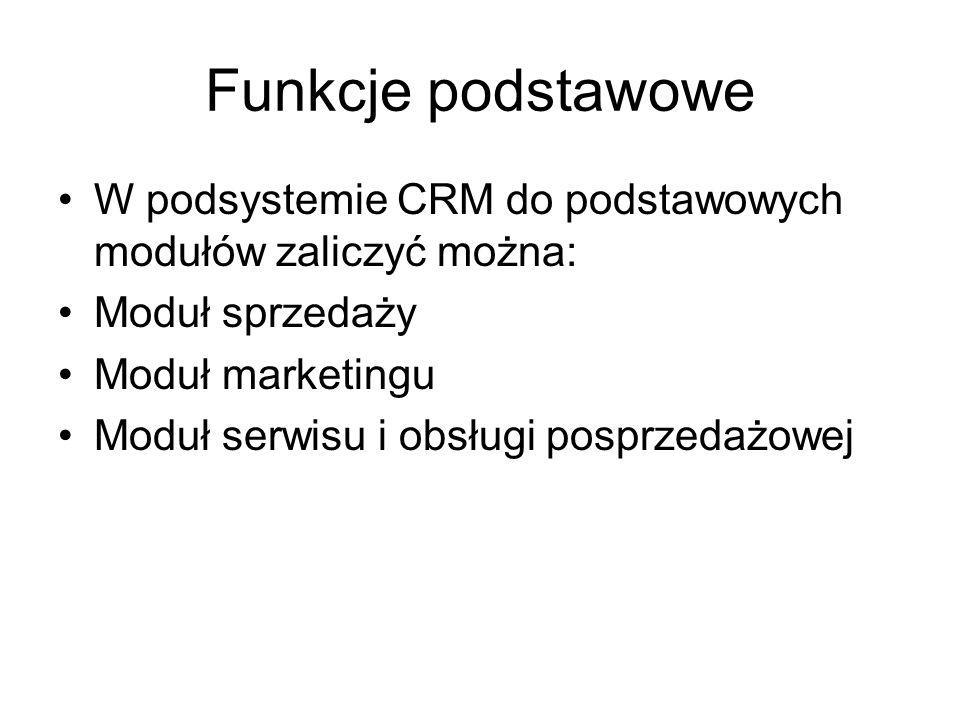 Funkcje podstawowe W podsystemie CRM do podstawowych modułów zaliczyć można: Moduł sprzedaży Moduł marketingu Moduł serwisu i obsługi posprzedażowej
